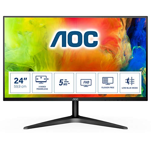 "AOC 24B1H – Monitor MVA de 23.6"" con Pantalla Full HD (MVA, HDMI, Sin Bordes, Ultrafino, Flicker Free y Low Blue Light) de AOC"