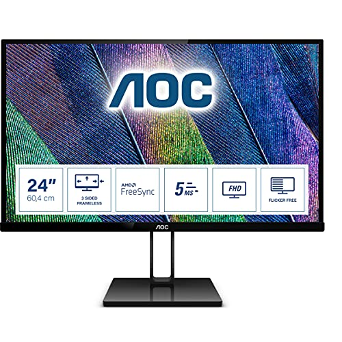 "AOC 24V2Q – Monitor de 24"" Full HD (IPS, Resolución 1920 x 1080, Freesync Flickerfree, Lowblue Light, HDMI, Displayport), Negro de AOC"