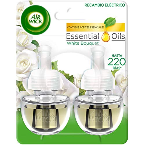 Air Wick Ambientador Eléctrico Recambio Duplo White Bouquet, 2 x 19 ml - Total: 38 ml de Airwick