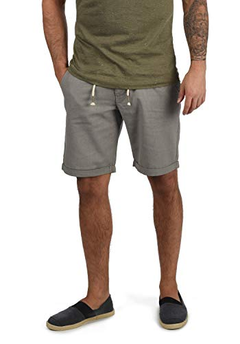 Blend Lias Pantalón Corto Shorts De Lino Bermuda Regular-Fit, tamaño:L, Color:Granite (70147) de Blend