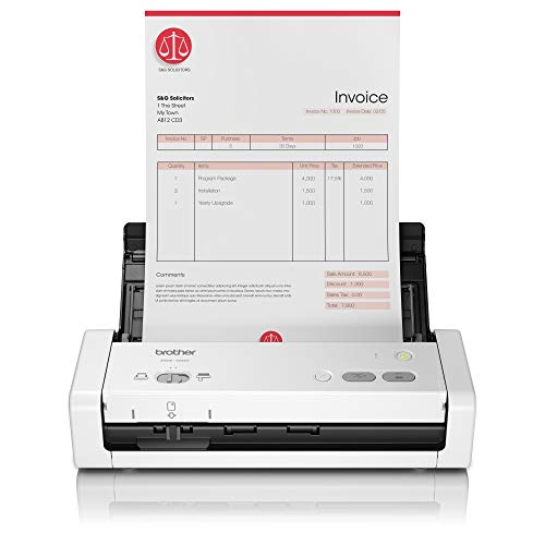 Brother ADS-1200 - Escáner departamental compacto y potente (hasta 50 ppm, resolución óptica hasta 600 x 600 ppp, ranura para tarjetas plásticas de identificación) blanco de Brother
