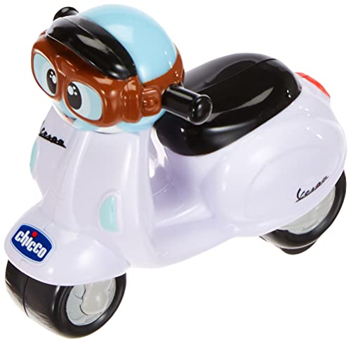 Chicco - Mini moto Vespa Turbo Touch, con carga por retroceso, color blanco de Chicco