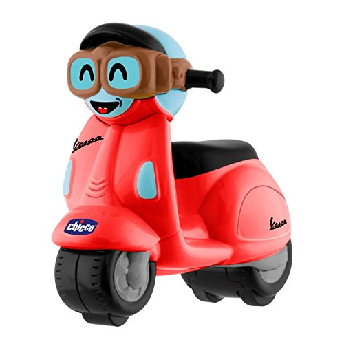 Chicco - Mini moto Vespa Turbo Touch, con carga por retroceso, color rojo de Chicco