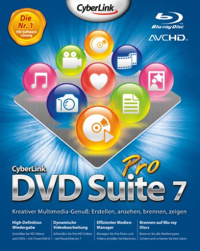 Cyberlink DVD Suite 7 Pro - Software de video (5000 MB, 512 MB, PC, DEU) de Cyberlink