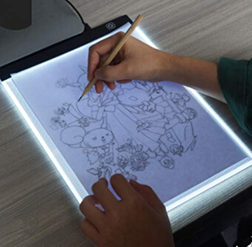 Delleu A4 LED Copy Station Drawing Copy Tracing Caja de luz USB Rechargeable Art Stencil Boards Tattoo Tracing Plat de Delleu