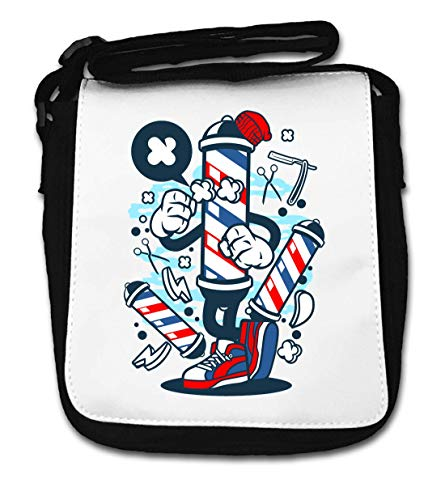 Barber Pole Cartoon Styled Barber Shop Logo Small Shoulder Bag de Desconocido