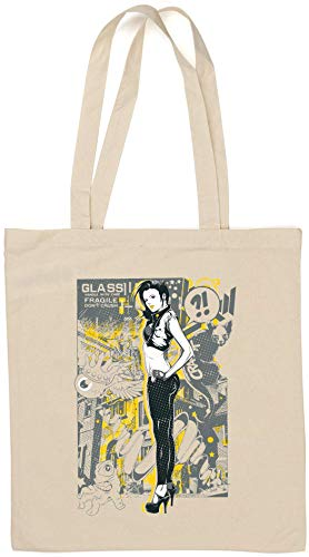 Black Cat Abstract Pin Up Girl Handle with Care Bolsa de algodón Natural de Desconocido