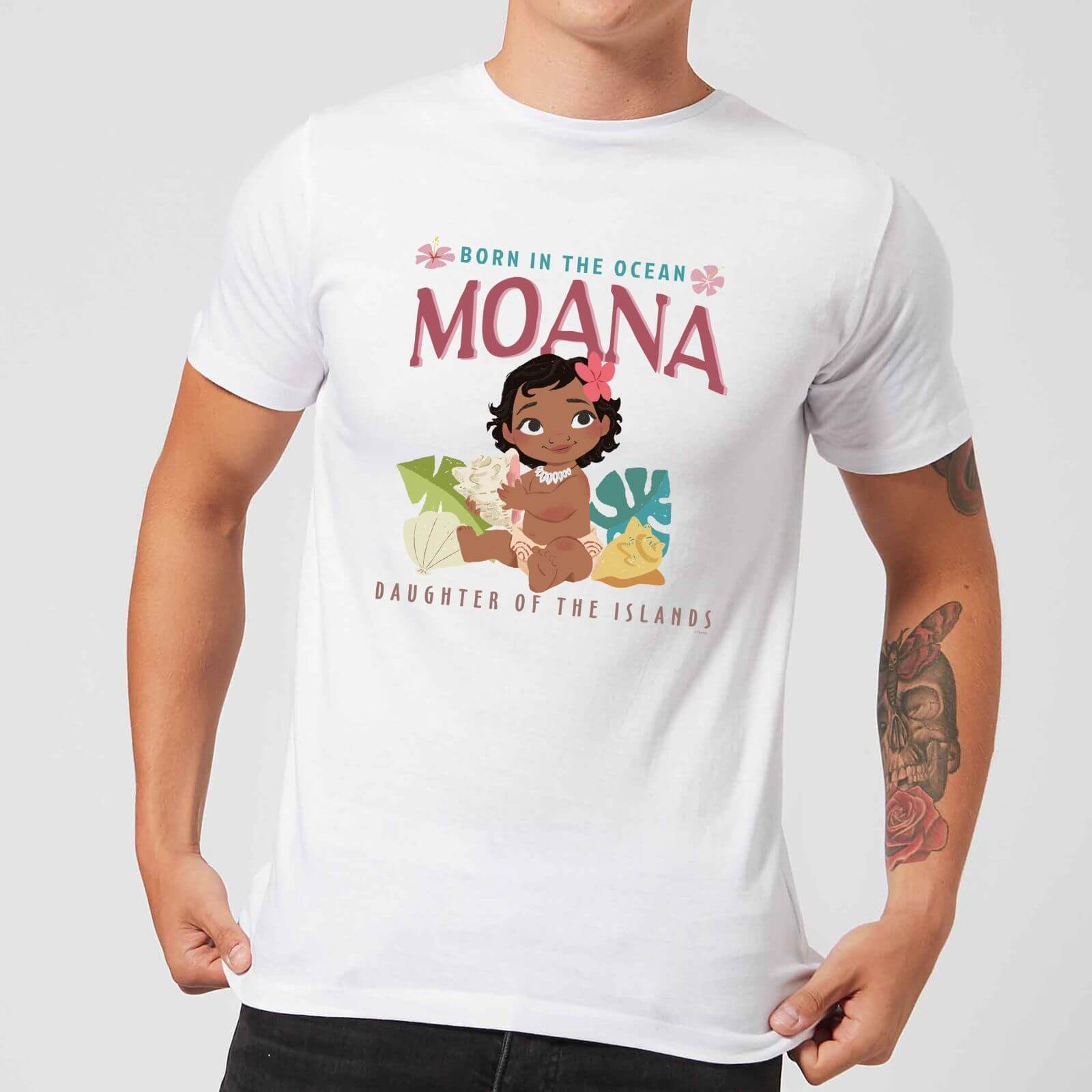 Camiseta Disney Vaiana Born In The Ocean - Hombre - Blanco - XXL - Blanco de Disney