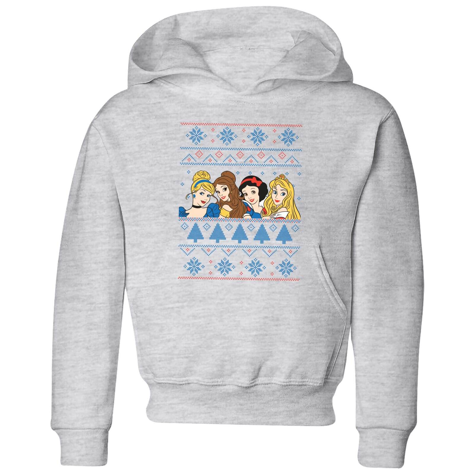 Disney Princess Faces Kids' Christmas Hoodie - Grey - 11-12 años - Gris de Disney