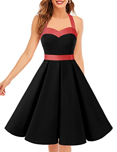 Dresstells® Halter 50s Rockabilly Polka Dots Audrey Dress Retro Cocktail Dress Black M de Dresstells