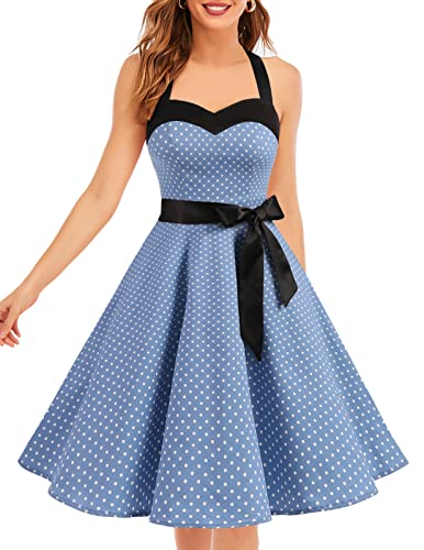Dresstells® Halter 50s Rockabilly Polka Dots Audrey Dress Retro Cocktail Dress Blue Small White Dot XL de Dresstells