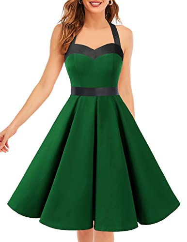 Dresstells® Halter 50s Rockabilly Polka Dots Audrey Dress Retro Cocktail Dress Green Black L de Dresstells