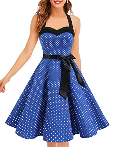 Dresstells® Halter 50s Rockabilly Polka Dots Audrey Dress Retro Cocktail Dress Royal Blue Small White Dot L de Dresstells