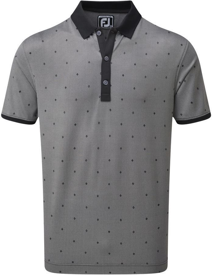 Footjoy Birdseye Argyle Mens Polo Shirt Black/White S de Footjoy