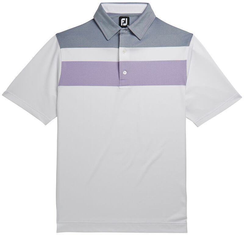 Footjoy Double Block Birdseye Pique Mens Polo Shirt White/Soft Purple/Deep Blue L de Footjoy