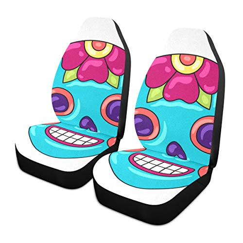 Car Seat Covers 1PC Front Seats Day Dead Sugar Skull Floral Ornament Automotive Seat Covers With Back Pocket Seat Protector Car Mat Covers Full Fit Most Vehicle, Cars, Sedan, Truck, Suv de HJHJJ