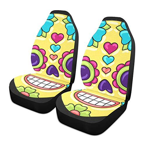 Car Seat Covers 2PC Front Seats Day Dead Sugar Skull Floral Ornament Automotive Seat Covers With Back Pocket Seat Protector Car Mat Covers Full Fit Most Vehicle, Cars, Sedan, Truck, Suv de HJHJJ