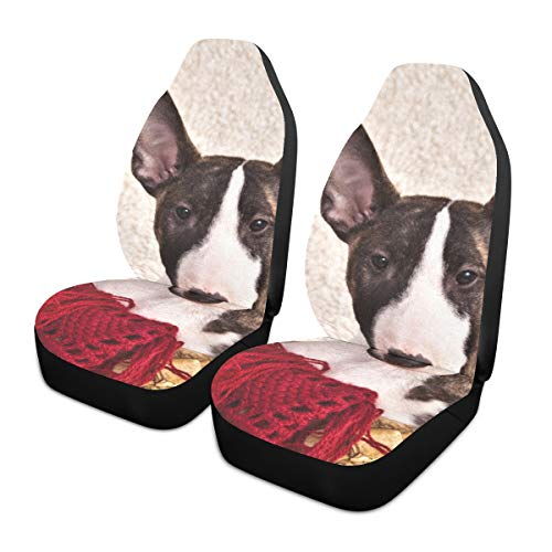 Car Seat Covers 2PC Front Seats Dog Breed Mini Bull Terrier Sitting Automotive Seat Covers With Back Pocket Seat Protector Car Mat Covers Full Fit Most Vehicle, Cars, Sedan, Truck, Suv de HJHJJ