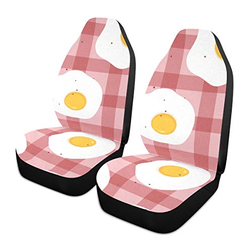 Car Seat Covers 2PC Front Seats Fried Eggs Breakfast Simple Automotive Seat Covers With Back Pocket Seat Protector Car Mat Covers Full Fit Most Vehicle, Cars, Sedan, Truck, Suv de HJHJJ