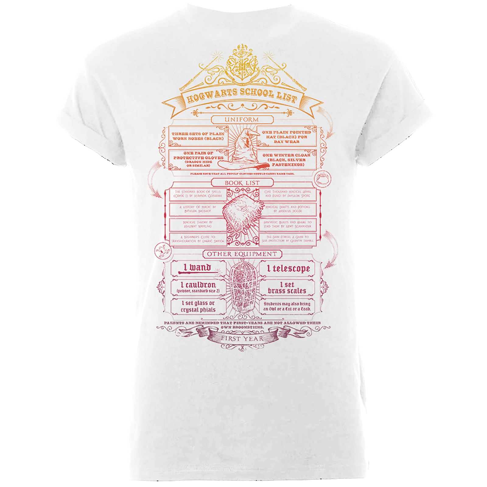 Camiseta Harry Potter  Hogwarts School List  - Hombre - Blanco - L - Blanco de Harry Potter