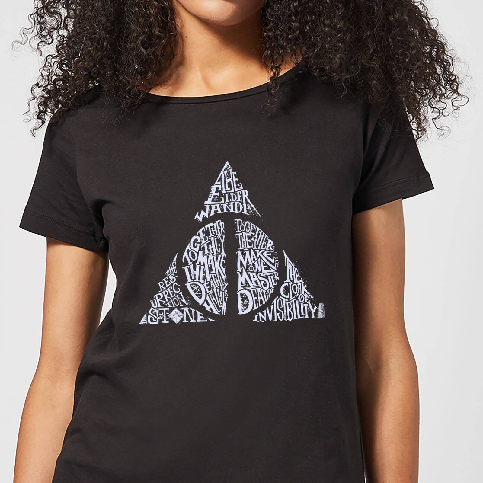Harry Potter Deathly Hallows Text Women's T-Shirt - Black - S - Negro de Harry Potter