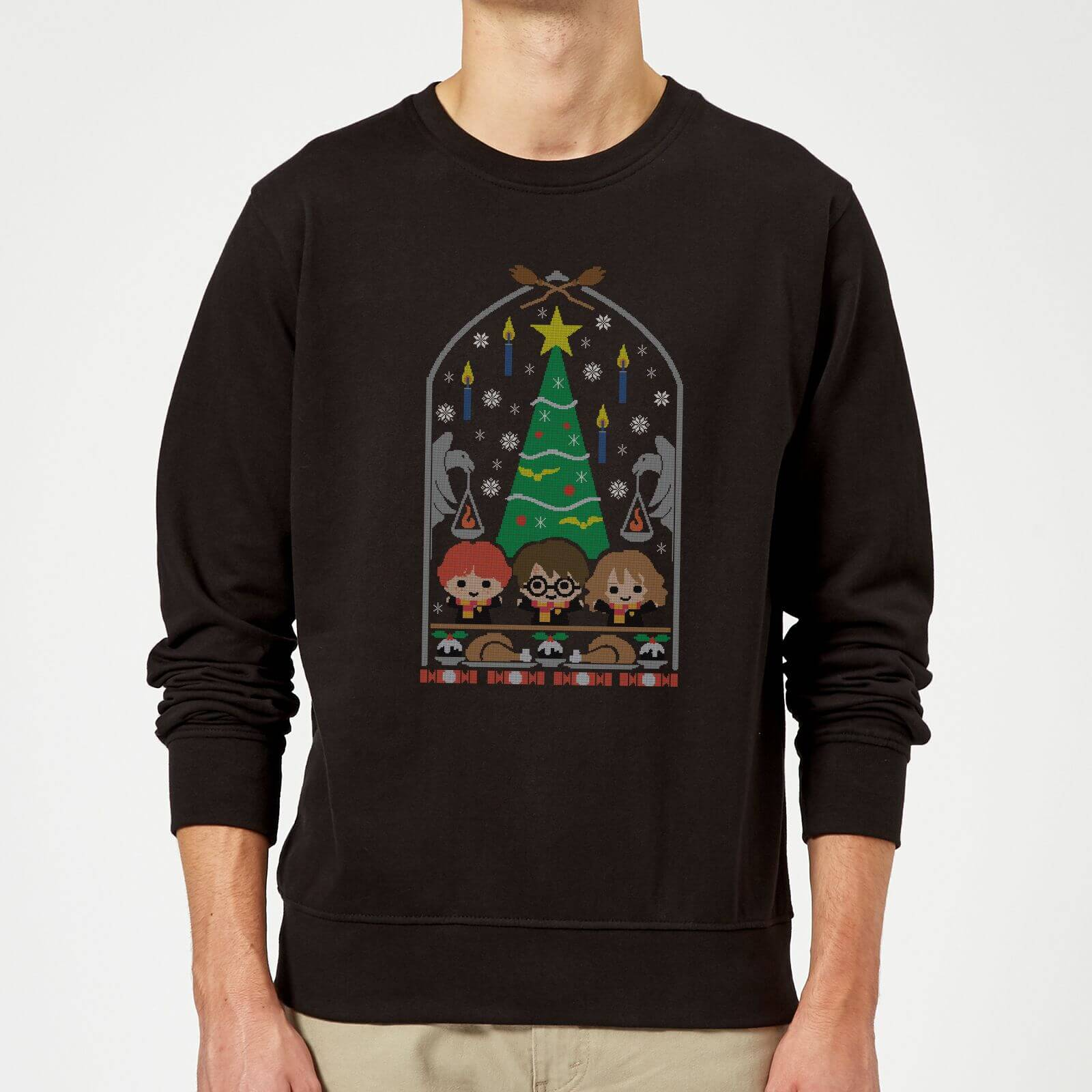 Harry Potter Hogwarts Tree Christmas Sweatshirt - Black - XXL - Negro de Harry Potter