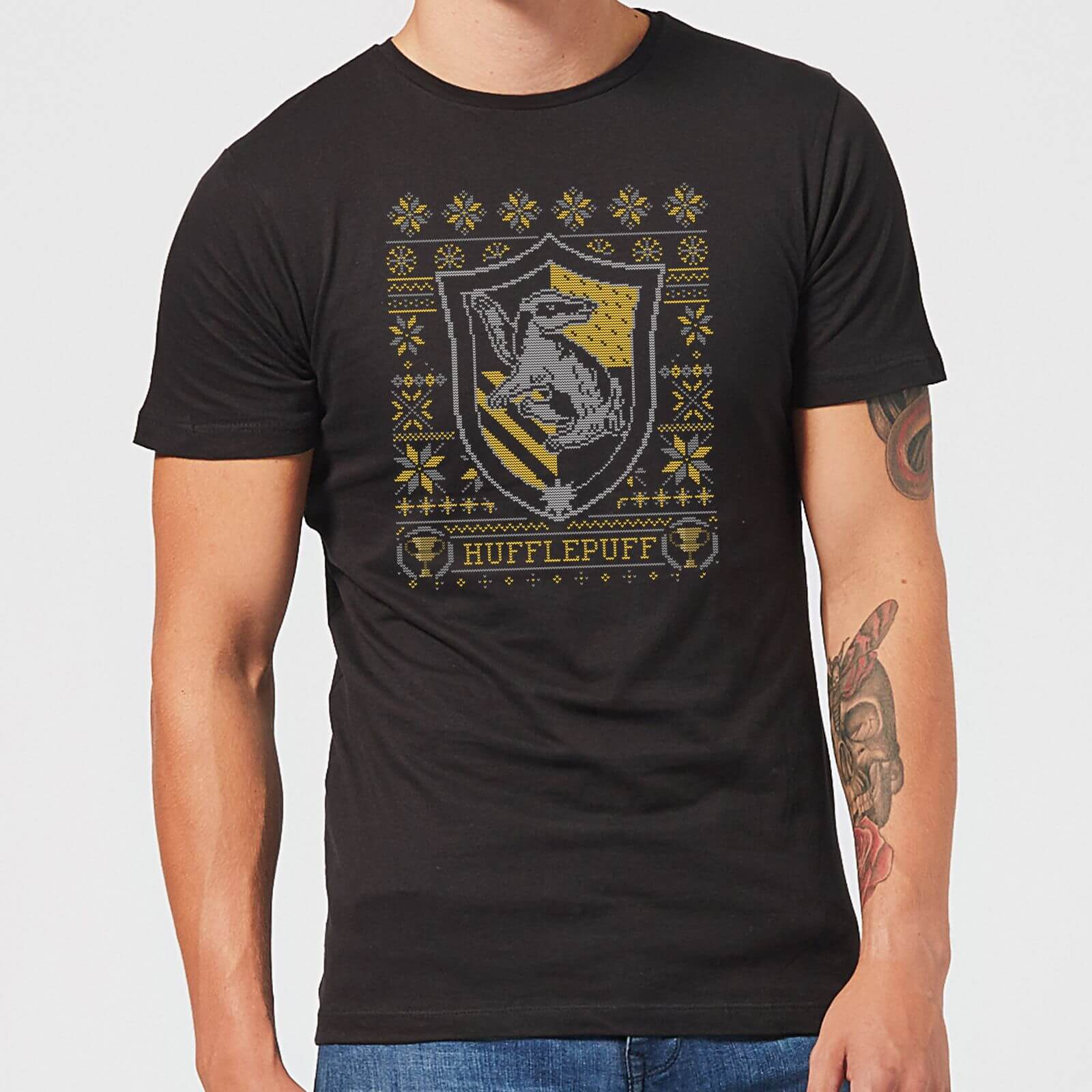 Harry Potter Hufflepuff Crest Men's Christmas T-Shirt - Black - XS - Negro de Harry Potter