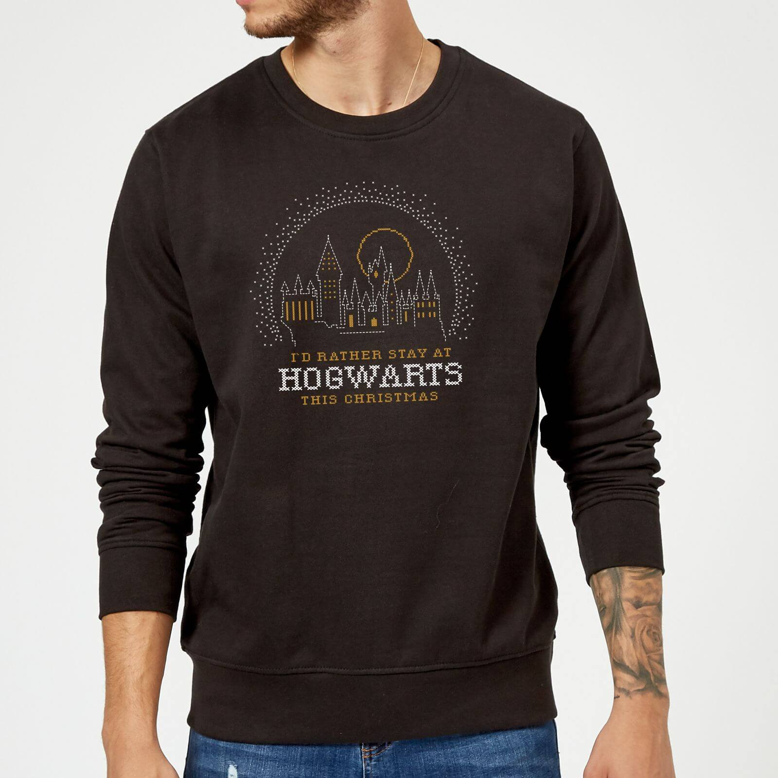 Harry Potter I'd Rather Stay At Hogwarts Christmas Sweatshirt - Black - S - Negro de Harry Potter