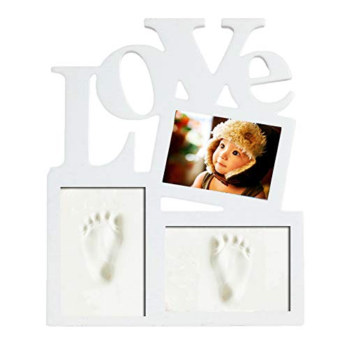Baby Handprint Kit & Footprint Photo Wood Frame Clay Set for Newborn Girls and Boys, Memorable Keepsake Box Decorations - Unique Baby Shower Gifts for Registry (30 x 36 x 2 CM) #6 de Holzsammlung