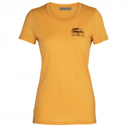 Icebreaker - Women`s Tech Lite S/S Low Crewe The Good Life - Camiseta de merino size XS, naranja de Icebreaker