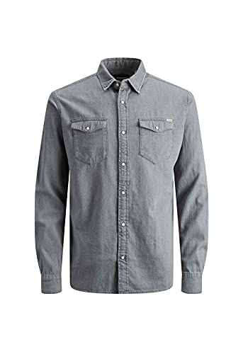JACK & JONES Jjesheridan Shirt L/s, Camisa Vaquera para Hombre, Gris (Light Grey Denim Fit:Slim), Small de JACK & JONES