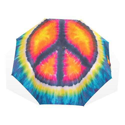 Compact Kids Umbrella Abstract Peace Sign Design Tie Dye Windproof Beautiful Rain Umbrella Rain & Wind Resistant Compact and Lightweight For Business and Travels de JOCHUAN