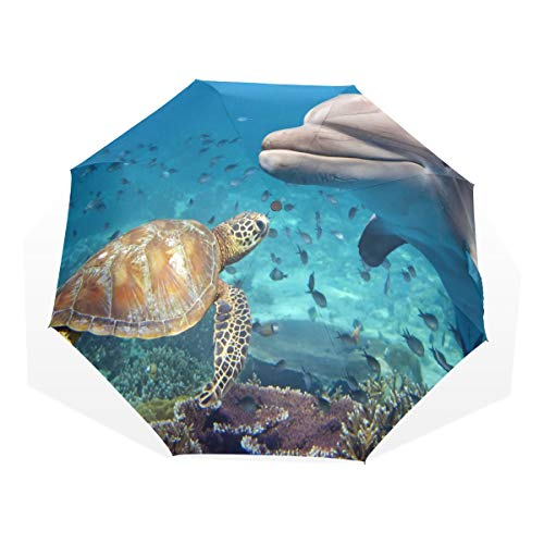 Compact Large Umbrella Ocean Sea Animal Turtle Dolphin Fish Windproof Travel Compact Umbrella Rain & Wind Resistant Compact and Lightweight For Business and Travels de JOCHUAN
