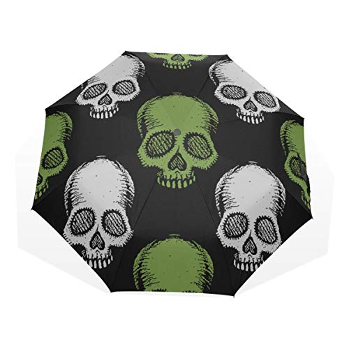 Compact Umbrellas Green White Human Skulls Windproof Folding Umbrellas For Men Rain & Wind Resistant Compact and Lightweight For Business and Travels de JOCHUAN