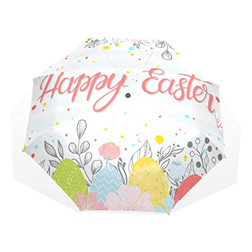 Foldable Umbrella Compact Easter Typography Happy Easter Hand Drawn Lettering Windproof Rain Umbrella Rain & Wind Resistant Compact and Lightweight For Business and Travels de JOCHUAN