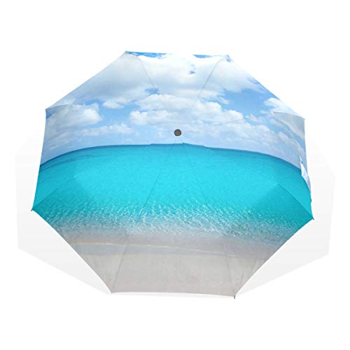 Folded Umbrella Beach Tropical with White Sand and Turquoise Water Windproof Sun Umbrella Compact Rain & Wind Resistant Compact and Lightweight For Business and Travels de JOCHUAN