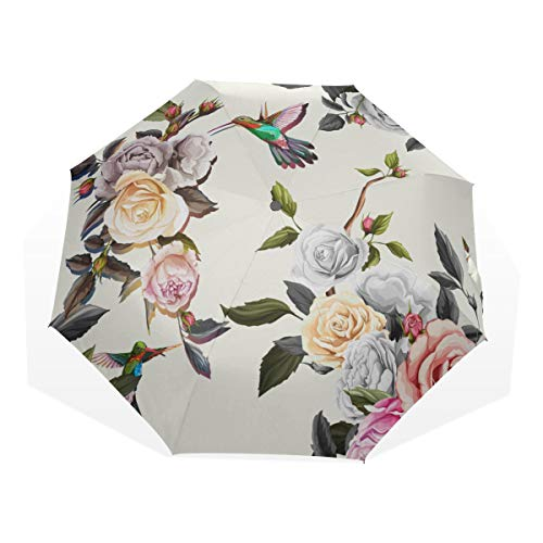Folding Travel Umbrella Humming Bird Roses Peony Leaves On Windproof Umbrella Travel Compact Rain & Wind Resistant Compact and Lightweight For Business and Travels de JOCHUAN
