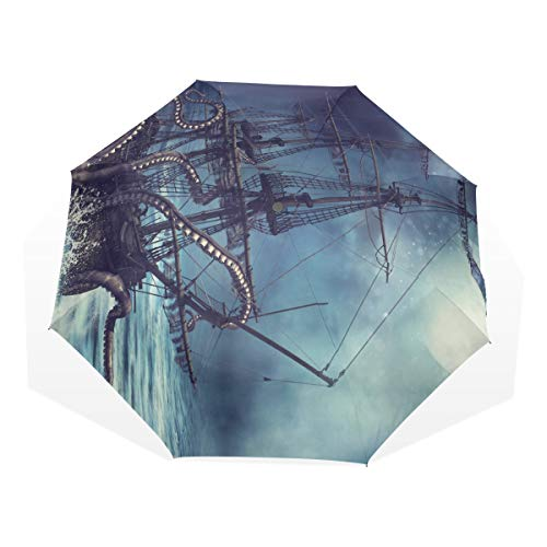Ladies Umbrella For Rain Night Scene with A Pirate Ship Pulled Into Water B Windproof Unique Travel Umbrella Rain & Wind Resistant Compact and Lightweight For Business and Travels de JOCHUAN