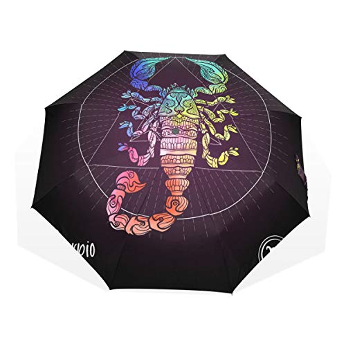 Large Travel Umbrella Scorpio Zodiac Sign Astrological Horoscope Collection Windproof Men Travel Umbrella Rain & Wind Resistant Compact and Lightweight For Business and Travels de JOCHUAN