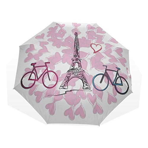 Mens Compact Umbrella Paris French Romantic Love Windproof Kid Compact Umbrella Rain & Wind Resistant Compact and Lightweight For Business and Travels de JOCHUAN