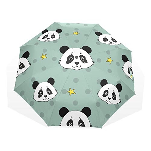 Umbrella Cute Travel Childrens Panda Stars Handdrawn Windproof Fold Up Umbrellas For Women Rain & Wind Resistant Compact and Lightweight For Business and Travels de JOCHUAN