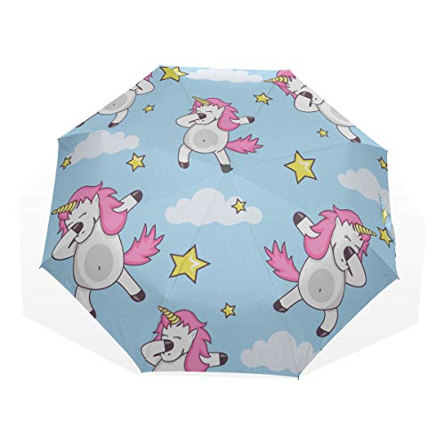 Wind Rain Umbrella Funny Dabbing Party Dance Unicorn Windproof Rain Umbrellas For Girls Rain & Wind Resistant Compact and Lightweight For Business and Travels de JOCHUAN