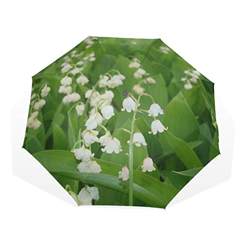 Windproof Travel Umbrella Lily Valley Flowers Leaf Bell May Spring Garden Windproof Womens Compact Umbrella Rain & Wind Resistant Compact and Lightweight For Business and Travels de JOCHUAN