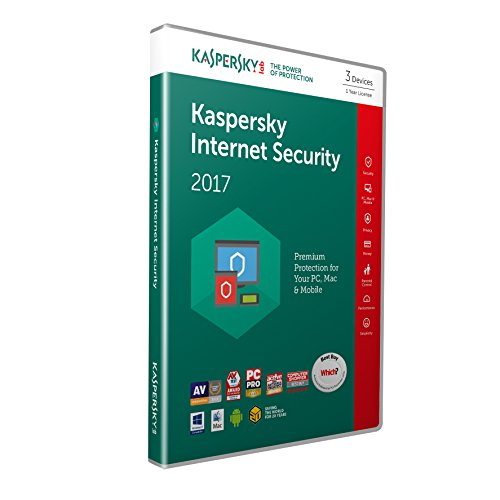 Kaspersky Lab Internet Security 2017 Base license 3usuario(s) 1año(s) Inglés - Seguridad y antivirus (3, 1 año(s), Base license, Soporte físico) de Kaspersky Lab