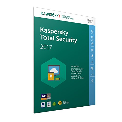 Kaspersky Lab Total Security 2017 Base license 3usuario(s) 1año(s) Inglés - Seguridad y antivirus (3, 1 año(s), Base license, Soporte físico) de Kaspersky Lab