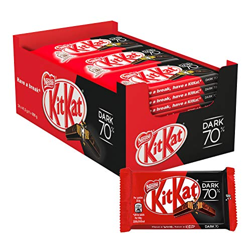 Nestlé KitKat Chocolate negro 70% - Barritas de chocolate negro, Snack de chocolate 24x41,5g de Kit Kat