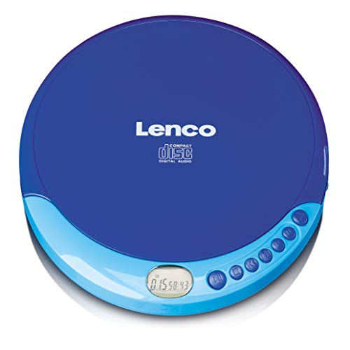 Lenco CD-011 Walkman - Reproductor de CD portátil (con Auriculares y Cable de Carga Micro USB), Color Azul de Lenco