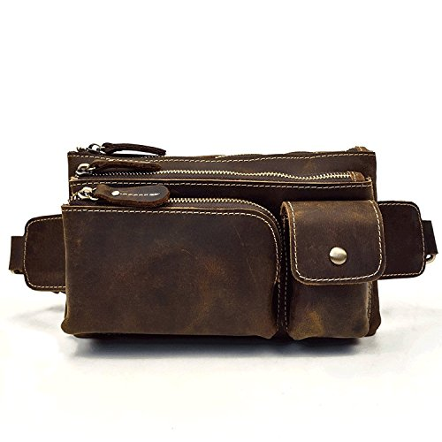 Bolso de cuero genuino, Fanny Pack Bum Belt Bag Bolso de hombro para hombres (Dark Brown) de Luufan