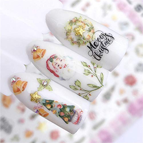 MEIYY Pegatina De Uñas 1 Hoja Gradient Flower Series 3D Nail Stickers Decals Floral Cartoon Adhesive Manicure Stickers Charm Nail Art Decoration de MEIYY