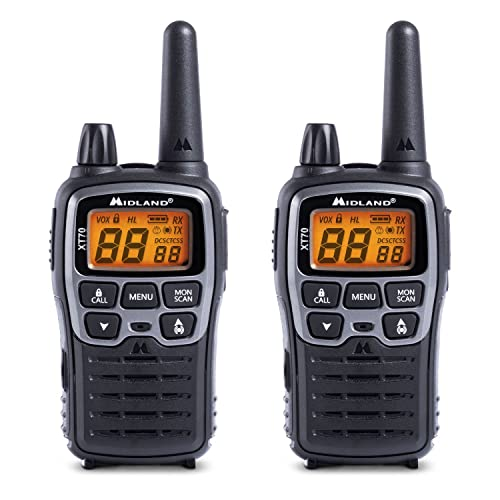 Midland XT70 24channels 446.00625-446.09375MHz Negro, Gris Two-Way radios - Walkie-Talkie (24 Canales, 446.00625-446.09375, LCD, AAA, Alcalino, 113 g) de Midland
